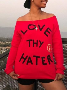 Red Love Letter Print Off Shoulder Long Sleeve Valentine's Day Cute T-Shirt