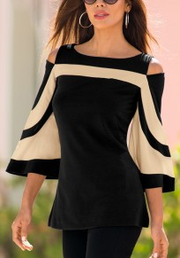 Black Striped Cut Out Round Neck Fashion T-Shirt