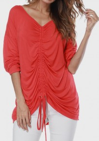 Red Drawstring Round Neck Long Sleeve Casual T-Shirt