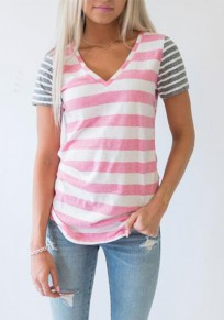 Pink Patchwork Striped V-neck Short Sleeve Casual T-Shirt
