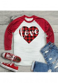 White Patchwork Red Plaid Heart Love Print Valentine's Day Couple T-Shirt