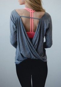Grey Cut Out Backless Round Neck Long Sleeve Casual T-Shirt