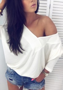 White Asymmetric Shoulder Multi Way Deep V-neck Casual Going out T-Shirt