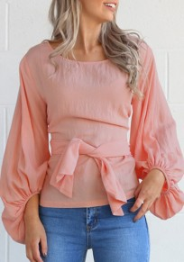 Pink Sashes Round Neck Lantern Sleeve Sweet Going out T-Shirt