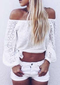 White Cut Out Pleated Long Sleeve Off Shoulder Side Slit Cute T-Shirt