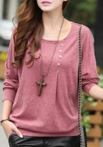 Red Buttons Round Neck Dolman Sleeve Long Sleeve T-Shirt