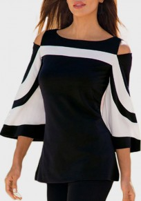 Black Cut Out Flare Sleeve Going out Casual T-Shirt