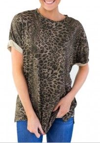 Brown Leopard Round Neck Short Sleeve T-Shirt