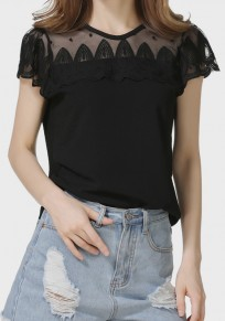 Black Patchwork Lace Round Neck Short Sleeve Sweet T-Shirt