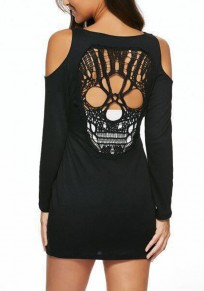 Black Skull Cut Out Round Neck Fashion T-Shirt