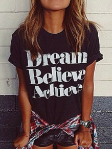 """Black """"Dream Believe Achieve"""" Print Casual Going out T-Shirt"""