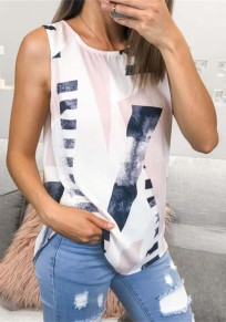 White Floral Print Round Neck Sleeveless Casual T-Shirt