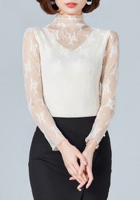 Apricot Patchwork Lace Grenadine Band Collar Elegant T-Shirt