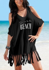 Black Monogram Print Tassel V-neck Elbow Sleeve Fashion T-Shirt