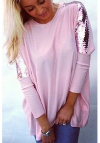 b76748e8eac6b2 Pink Patchwork Sequin Draped Round Neck Going out T-Shirt