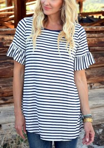 Black/White Striped Ruffle Flare Sleeve Casual Going out T-Shirt