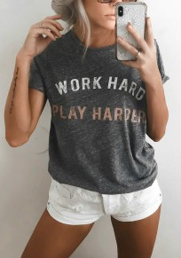 "Grey ""WORK HARD PLAY HARER"" Print Round Neck Casual T-Shirt"