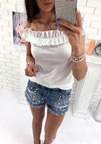 White Ruffle Boat Neck Fashion T-Shirt