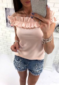 Orange Ruffle Boat Neck Fashion T-Shirt