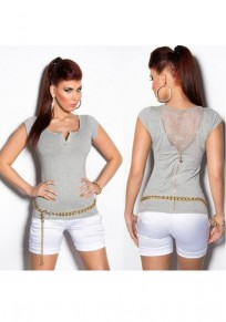 Grey Patchwork Lace Buttons Zipper V-neck Fashion T-Shirt