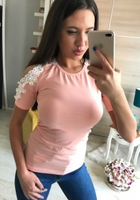 Pink Patchwork Lace Cut Out Pearl Round Neck Fashion T-Shirt