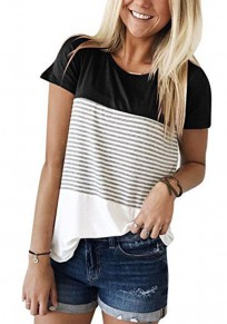 Black Striped Print Round Neck Short Sleeve Casual T-Shirt