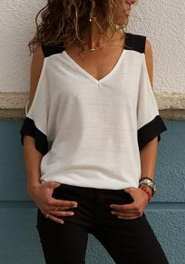 White Patchwork Print Cut Out V-neck Casual T-Shirt