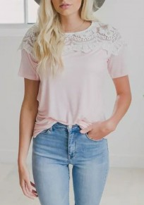Pink Patchwork Lace Round Neck Going out Casual T-Shirt