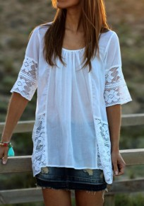 White Patchwork Lace Pleated Elbow Sleeve Round Neck Casual T-Shirt