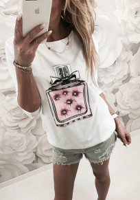 White Patchwork Print Round Neck Long Sleeve Casual T-Shirt