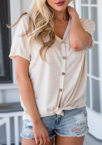 Apricot Buttons V-neck Short Sleeve Casual T-Shirt