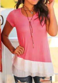 Pink Patchwork Cascading Ruffle Round Neck Fashion T-Shirt