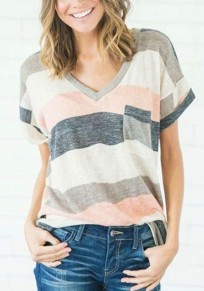 Pink Striped Print Pockets V-neck Going out Casual T-Shirt
