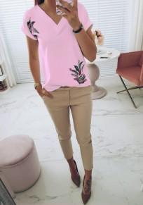 Pink Floral Print V-neck Short Sleeve Sweet T-Shirt