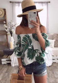 Multicolor Floral Print Ribbons Boat Neck Short Sleeve Casual T-Shirt