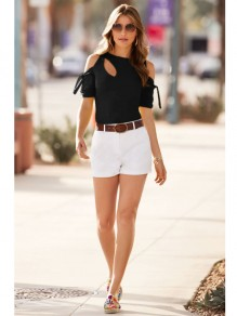 Black Bow Cut Out Round Neck Short Sleeve Casual T-Shirt