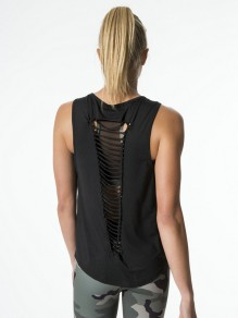 Black Tie Back Round Neck Cut Out Casual T-Shirt