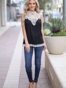 Black Patchwork Lace Buttons Round Neck Casual T-Shirt
