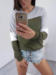 Green Patchwork Print Round Neck Long Sleeve Casual T-Shirt