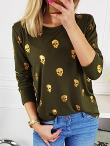 Army Green Skull Print Long Sleeve Round Neck Fashion T-Shirt
