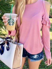 Pink Cascading Ruffle Round Neck Long Sleeve Casual T-Shirt