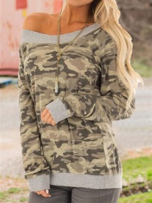 Camouflage One Off Shoulder Slouchy Long Sleeve Casual T-Shirt