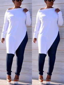 White Irregular Zipper High Slit Oblique Shoulder Long Sleeve Casual T-Shirt