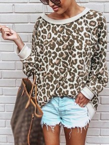 Apricot Leopard Print One Off Shoulder Long Sleeve Casual T-Shirt