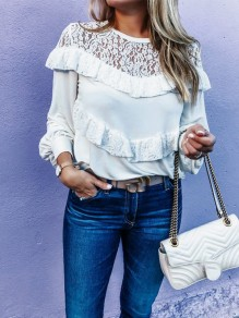 White Patchwork Lace Ruffle Long Sleeve Elegant T-Shirt