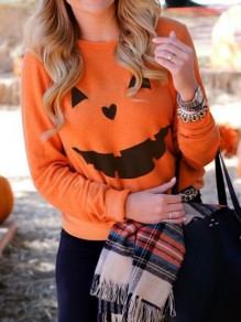 Orange Pumpkin Print Round Neck Long Sleeve Halloween Casual T-Shirt