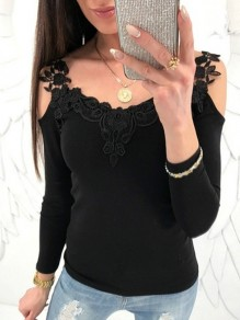 Black Lace Cut Out V-neck Long Sleeve Fashion Casual T-Shirt