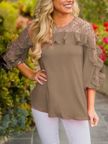 Khaki Patchwork Lace Ruffle Three Quarter Length Sleeve Round Neck Casual T-Shirt