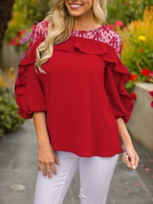 Red Patchwork Lace Ruffle Three Quarter Length Sleeve Round Neck Casual T-Shirt