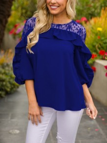 Blue Patchwork Lace Ruffle Three Quarter Length Sleeve Round Neck Casual T-Shirt